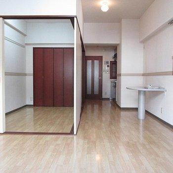 広いです。右側がドアで仕切れます。
