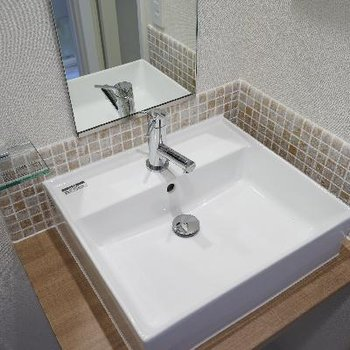 洗面台はタイルが可愛い!