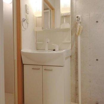 独立洗面台。少し洗濯機を置くスペースが小さいか?
