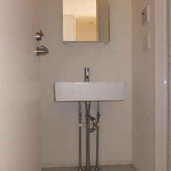 シンプルな洗面台。お風呂用のタイルを置いたりはできなそう。