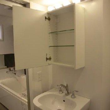 洗面台の鏡の後ろは収納スペースです