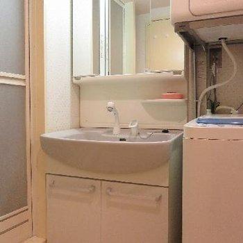大きな洗面台。洗濯機も付いてきます。