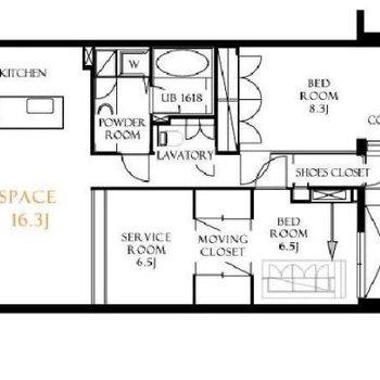リビング奥のスペースは大きな一部屋としてもしきっても◎