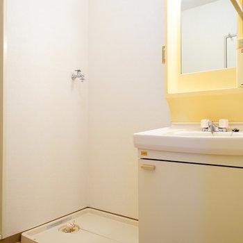 洗面台横に洗濯機!