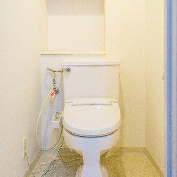 トイレは収納棚とウォシュレット付き