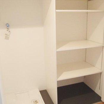 廊下の扉の中に洗濯機置き場と更なる収納!