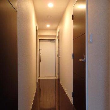 廊下のダウンライトも雰囲気がとても良い