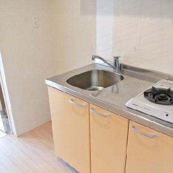 キッチンは2口のガスコンロ!(LPガスです)※写真は別部屋