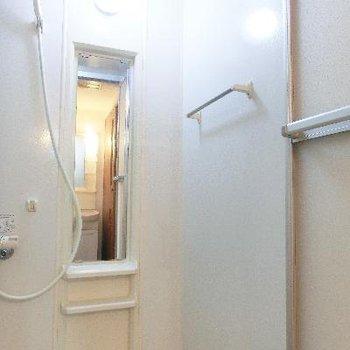 棚も鏡もタオルかけも全て完備