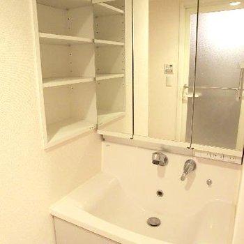 立派な洗面台。サイドの棚が嬉しいです。