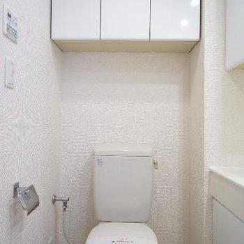 隣にはトイレです。棚が◯