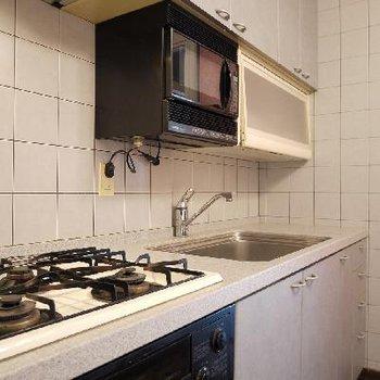 キッチンには食器乾燥機とレンジが備えつけられています