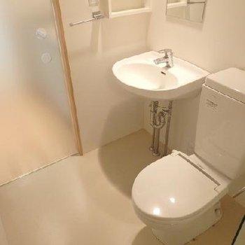 お手洗いと洗面台は一緒のスペース。収納棚あります。※写真は別部屋です。