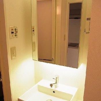 鏡の大きい洗面台。※写真は別部屋です