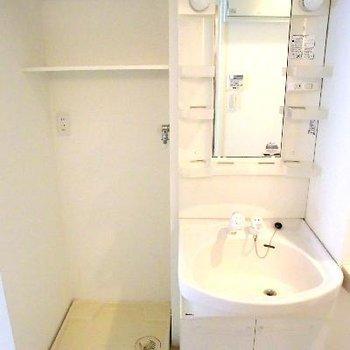 洗濯機置場と洗面台。上部の棚が嬉しい。