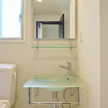 デザイン重視の洗面台。