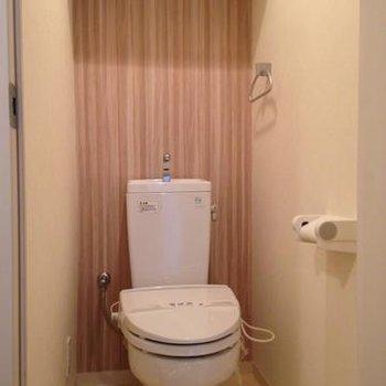 トイレにはデザインクロスが施されています。