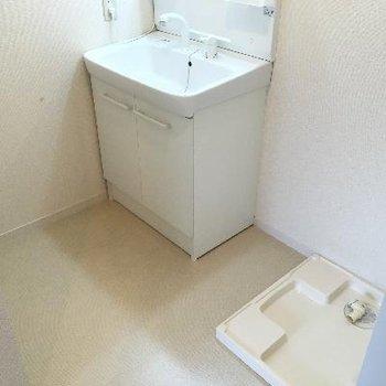 洗面器と洗濯機置き場!なんだかこの部屋地味に広めです。