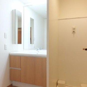 お風呂前の洗面スペース。鏡が大きくてgood