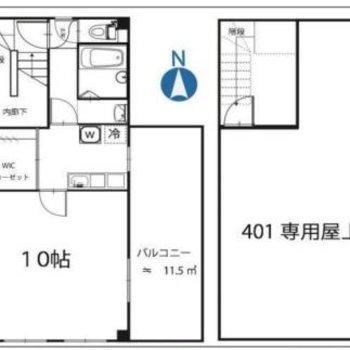 お部屋も10帖、その横にルーバルまであるんです。