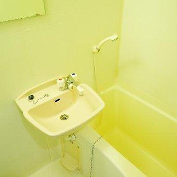 お風呂と併設の洗面台です。※写真は同タイプ、別部屋です