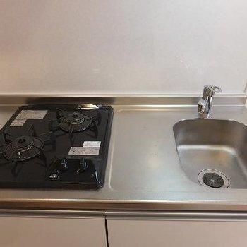 キッチンは2口コンロ。さすがにシンクは小さいです。※写真は別部屋です