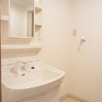 収納を考えられた洗面台。※写真は同タイプの別部屋