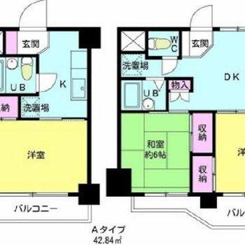 601号室はBタイプの反転タイプです