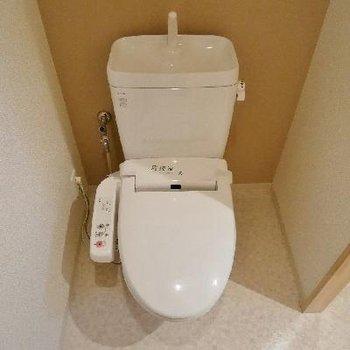 トイレには扉がないですが、ウォシュレットです。