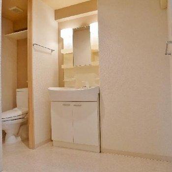 洗面台とお手洗い、洗濯機置き場、脱衣所がコンパクトにまとまっています。