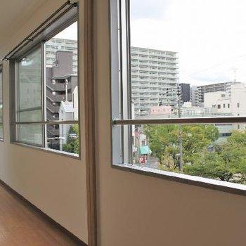 大きな窓が3枚。目の前は緑豊富な公園!