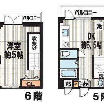 5階と6階を使いので最上階ですね!
