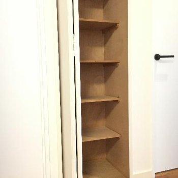 洗面所と洋室の間に小さな物入れが!無駄なくスペースが使われてます!