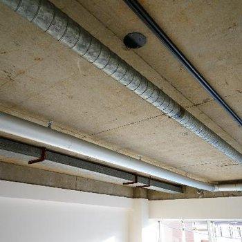 天井が高く、配管とライティングレールがオシャレ!