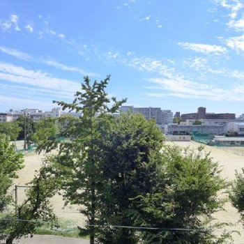 学校のすぐ近く。校庭が見えますよ〜