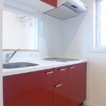 赤のキッチン!2口IHです
