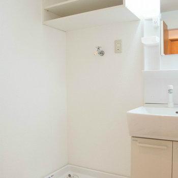 洗面台の横に洗濯機置場。ドラムも可能です。