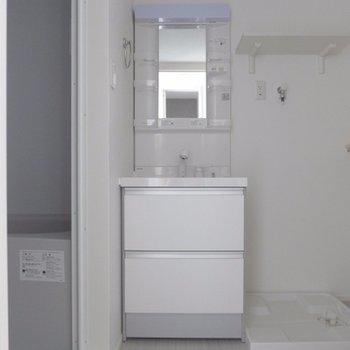 洗面台は大きく使い勝手が良さそう!※写真は別部屋