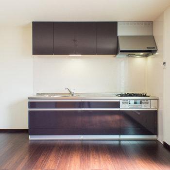 大容量収納のキッチン。※写真は202号室
