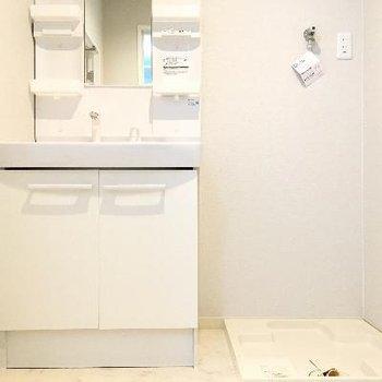 洗面台と洗濯機置き場です!すべて新品みたい!