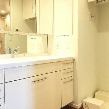 洗面台が広い!洗濯機置き場ももちろんありますよ