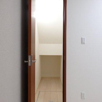 収納は隣りのお部屋の階段下のスペース