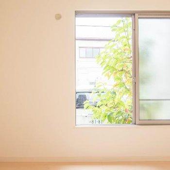 1階のお部屋窓から緑がのぞきます