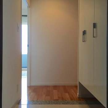 玄関には段差がないので、こまめな掃除が必要です。