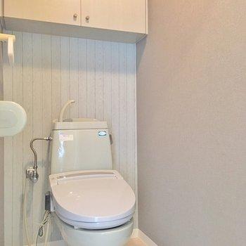 トイレも抜かりなくクロスにこだわってます。収納アリもうれしい。