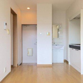 反対側から見ると。キッチンと洗面台が並んでいます。