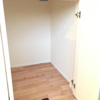 トイレの扉の前の足元にこんな収納が。結構奥行きあります。