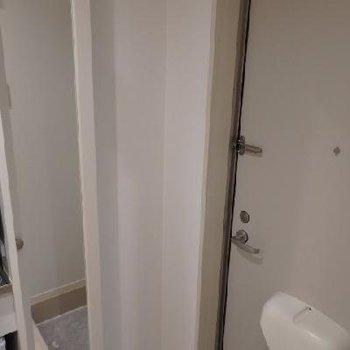 玄関の鏡の中は靴の収納スペースがあります。