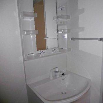 シャワーヘッドの洗面台です*フラッシュ撮影です