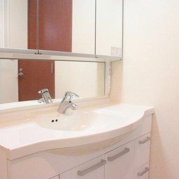 幅があって使いやすい洗面台は、女性が喜ぶ3面鏡付き♪